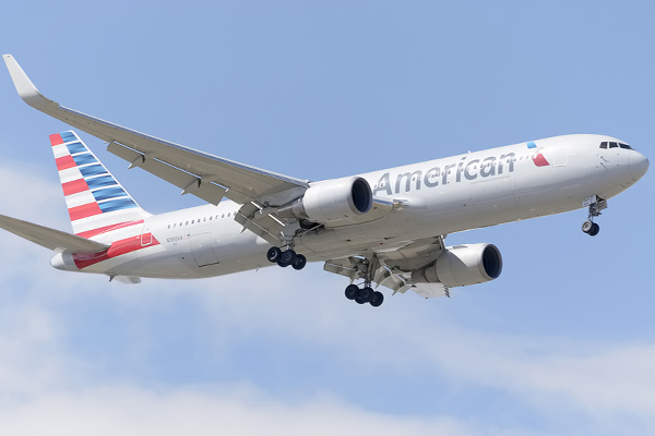 American Airlines aircraft catches fire