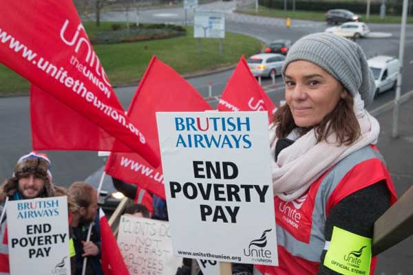 BA crew start three-day 'poverty pay' strike