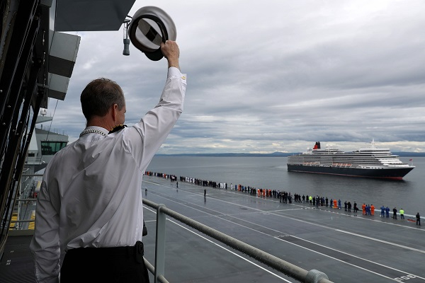 Cunard Line and Royal Navy's Queen Elizabeth ships meet for the first time