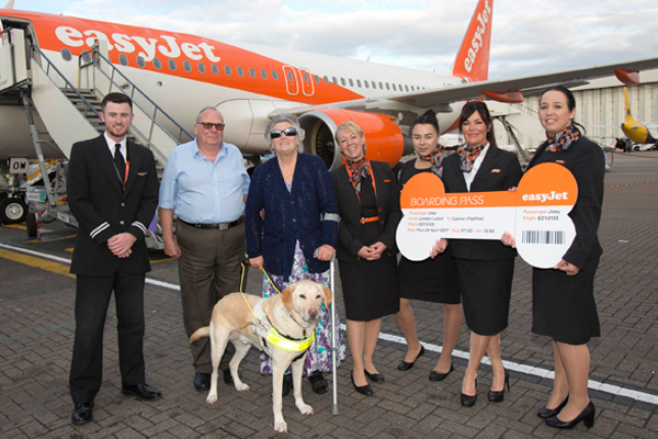 Guide dog and owner become first easyJet 'furry flight club' members