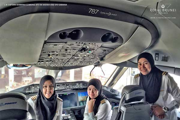 First all-female Royal Brunei flight crew 'make history'