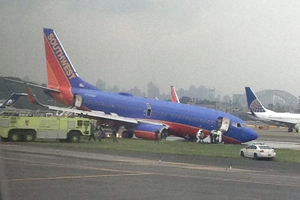 Ten hurt after Southwest 737 skids off New York runway