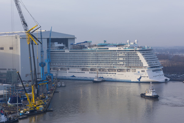 Norwegian Cruise Line's Bliss floats out at Meyer Werft shipyard