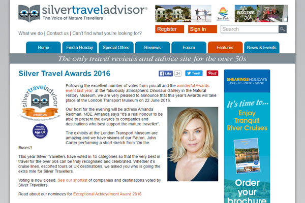 Travel firms honoured in second Silver Travel Advisor awards