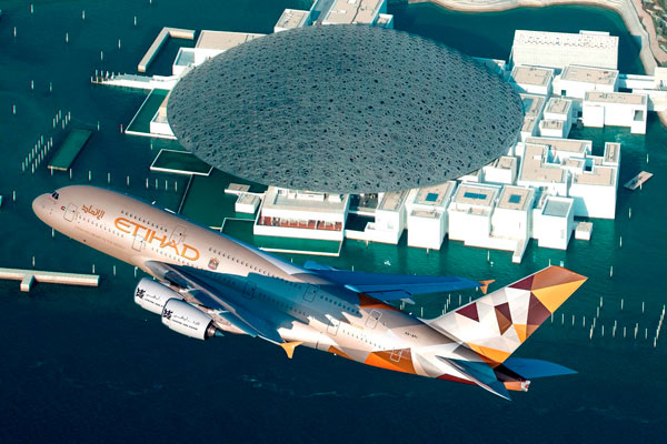 Opening of Louvre Abu Dhabi marked by Etihad A380 fly past
