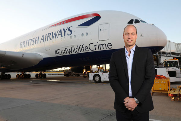 BA flies Prince William on wildlife conservation mission