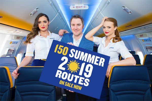 Ryanair puts 150 summer 2019 routes on sale