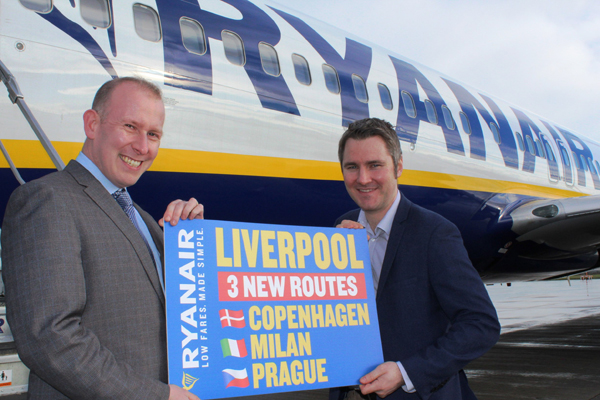 Ryanair announces Copenhagen, Milan and Prague services from Liverpool John Lennon airport