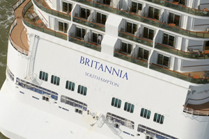 Britannia arrives in Southampton