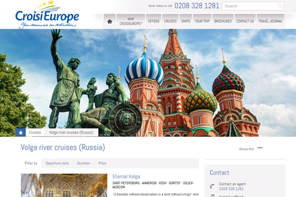 CroisiEurope to sell Moscow-St Petersburg river cruises in UK market