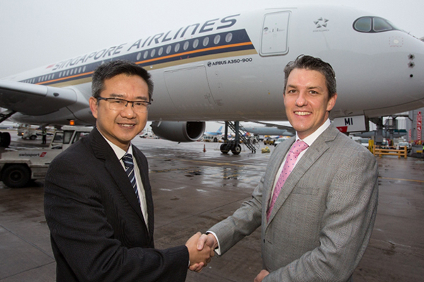Debut Singapore Airlines' Airbus 350-900 takes off from Manchester airport