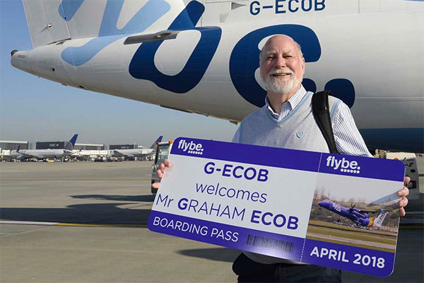 Former agent takes flight on Flybe aircraft with matching registration