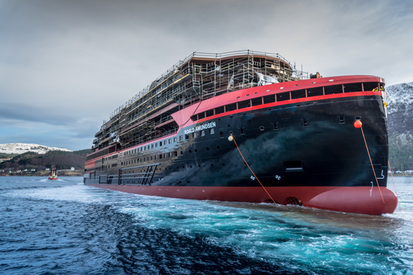 New Hurtigruten hybrid expedition ship floated out