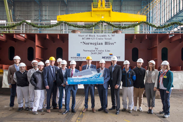 NCL celebrates keel laying for new ship Norwegian Bliss