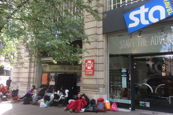 Queue starts three nights ahead of STA Travel's flash sale