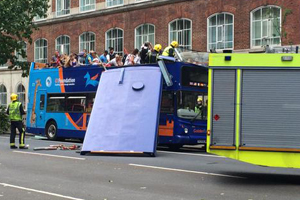 Tourist bus has roof ripped off after colliding with tree in London