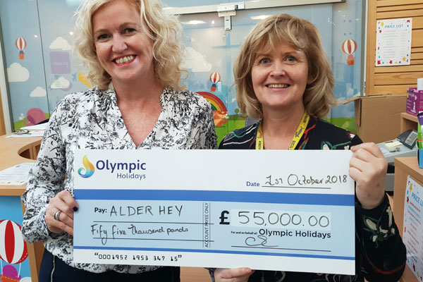 Olympic Holidays donates £55,000 to children's hospital